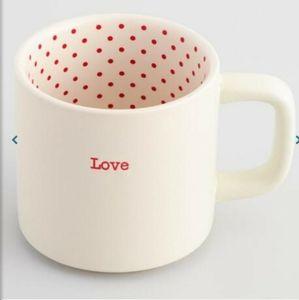 World Market  White and Red Polka Dot Love Mug